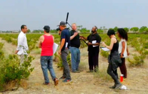 "Crew filming on location for ""The Vineyard"""