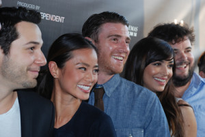 Flock of stars, from left, Skylar Astin, Jamie Chung, Bryan Greenberg, Hannah Simone and Jon Gabrus