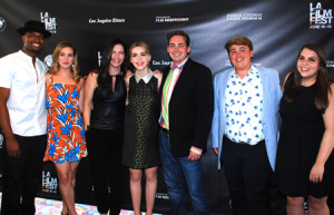 Fan Girl team at LA Film Fest, from left, Joshua Boone, Nicole Coulon, writer Gina O'Brien, Kiernan Shipka, director Paul Jarrett, Jon Christian Costable and Beanie Feldstein.